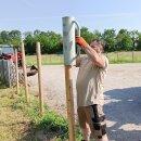Zaunpfahl Northern White Cedar Höhe 150 cm rund zu Zaun Höhe 100 cm Durchmesser ca 7-9cm mit Spitze