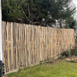 Proline Staketenzaun Kastanie 200 cm hoch, Schnittware 1-4m, Lattabstand ca 2-4cm