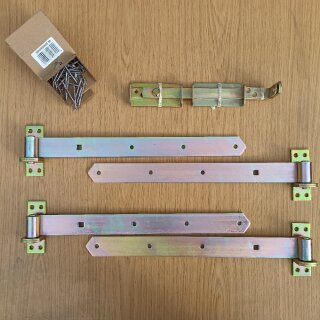 Beschlagsatz mit Anschraubkloben (inkl. Schraubenkit in Edelstahl) für ein zweiflügeliges Tor.
